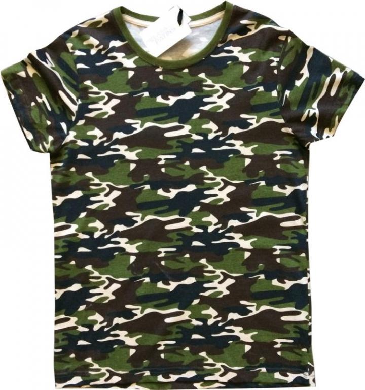 T-shirt em Algodão Camuflado Verde